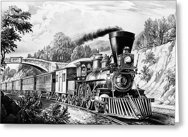 Express Digital Greeting Cards - The Express Train Greeting Card by Digital Reproductions
