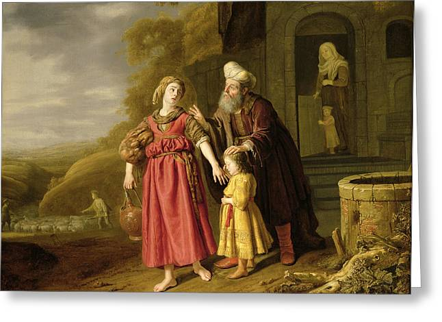 Old Testament Greeting Cards - The Expulsion Of Hagar And Ishmael, C.1644 Oil On Canvas Greeting Card by Victors