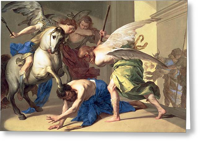 Murderer Greeting Cards - The Expulsion of Heliodorus from the Temple Greeting Card by Bernardo Cavallino