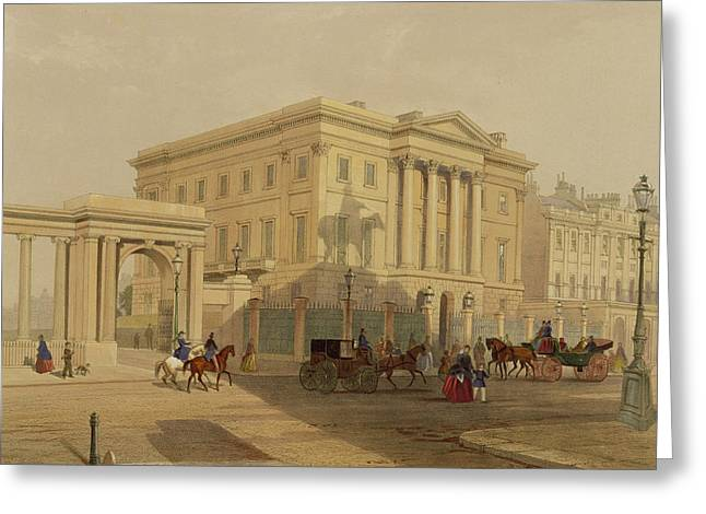 Park Scene Paintings Greeting Cards - The Exterior Of Apsley House, 1853 Greeting Card by English School