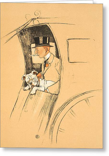 British Bulldog Greeting Cards - The Extra Passenger Greeting Card by Cecil Charles Windsor Aldin