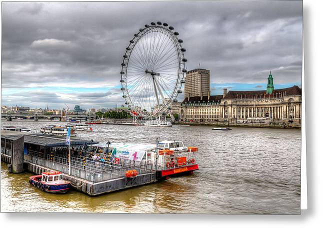 England Greeting Cards - The Eye Across the Thames Greeting Card by Tim Stanley