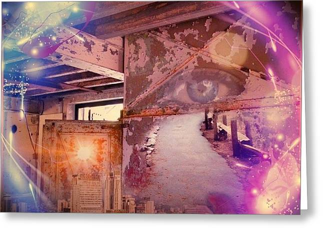 Architectur Digital Art Greeting Cards - The eye in circle  Greeting Card by Dita Van Stipriaan