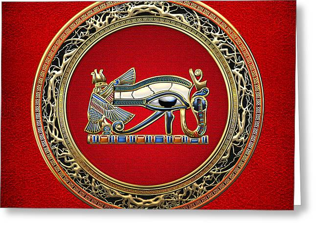 Amulets Greeting Cards - The Eye of Horus Greeting Card by Serge Averbukh