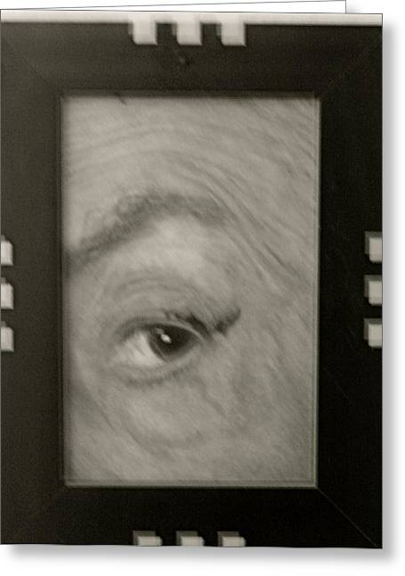 Transfer Paintings Greeting Cards - The Eye of Quentin Crisp Greeting Card by Ruth Edward Anderson