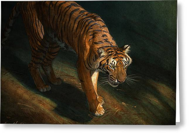 Tigers Digital Greeting Cards - The Eye of the Tiger Greeting Card by Aaron Blaise