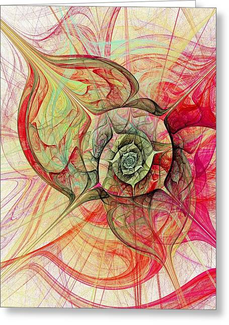 Green Surreal Geometry Greeting Cards - The Eye Within Greeting Card by Anastasiya Malakhova