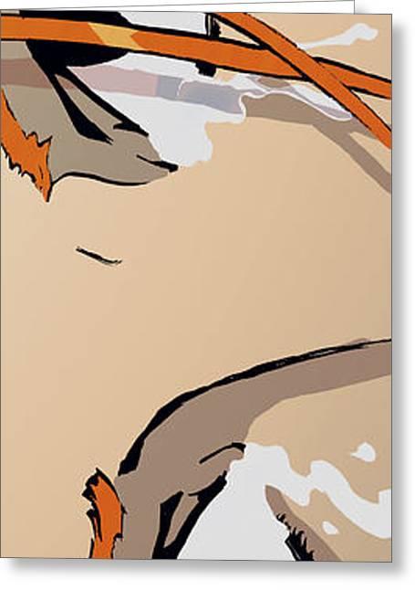 Bedroom Art Greeting Cards - The Eyes - Orange Greeting Card by Hanan Evyasaf