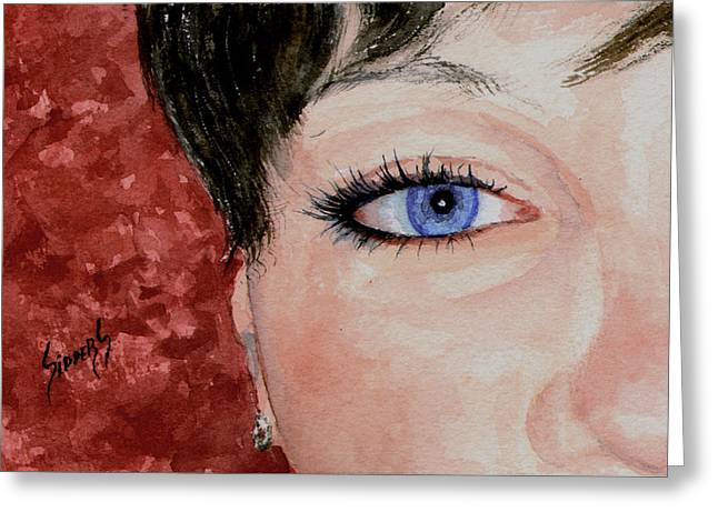 Face Greeting Cards - The Eyes Have It - Nicole Greeting Card by Sam Sidders