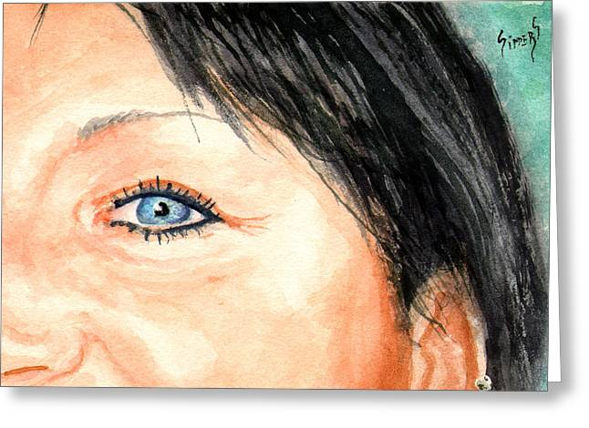 The Eyes Have It - Tami Greeting Card by Sam Sidders