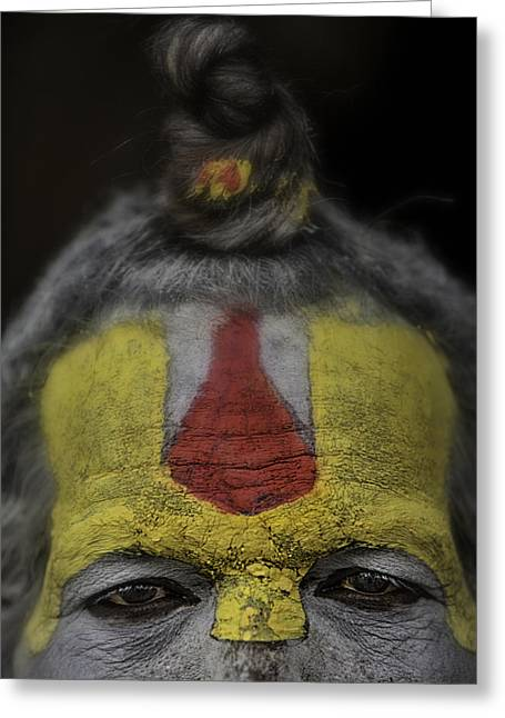 Begging Bowl Greeting Cards - The eyes of a Holy man 2 Greeting Card by David Longstreath