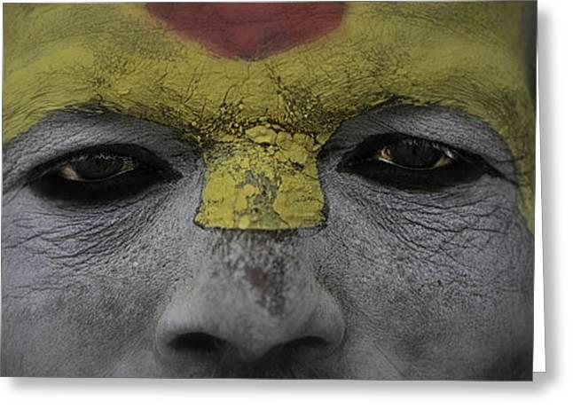 Begging Bowl Greeting Cards - The Eyes of a Holyman Greeting Card by David Longstreath