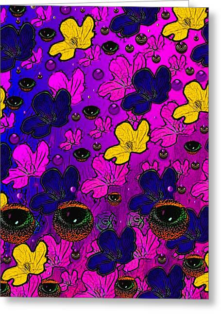 Serve Mixed Media Greeting Cards - The eyes of mother nature serve and protect Greeting Card by Pepita Selles