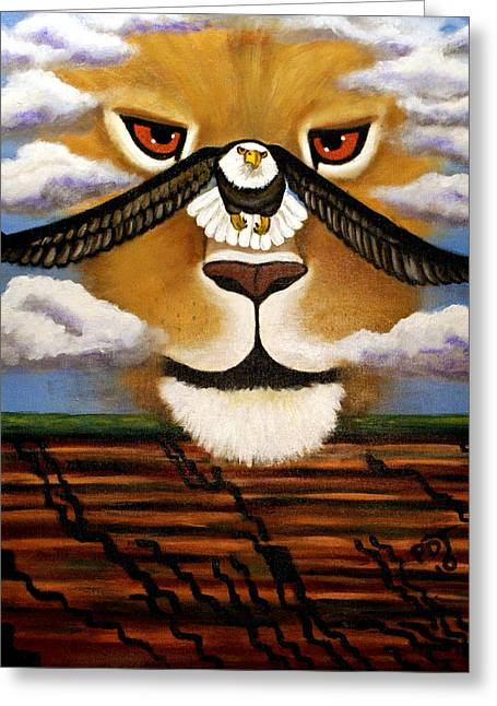 Recently Sold -  - Lions Greeting Cards - The Eyes Of The LORD Go  Greeting Card by Pamorama Jones