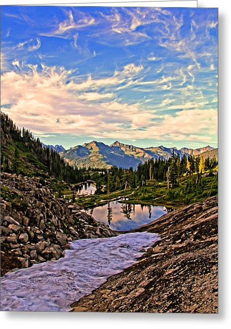 The Eyes Of The Mountain. Greeting Card by Eti Reid