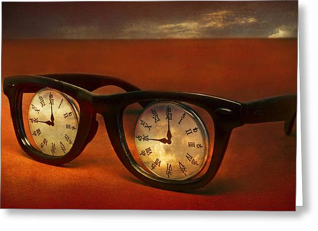 Visual Metaphor Greeting Cards - The Eyes Of Time Greeting Card by Jeff  Gettis