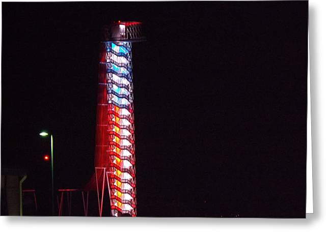 Austin At Night Greeting Cards - The F1 Tower At Night In Austin Greeting Card by Rebecca Cearley