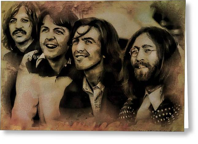 Hey Jude Greeting Cards - The Fab Four Greeting Card by Allen Beilschmidt