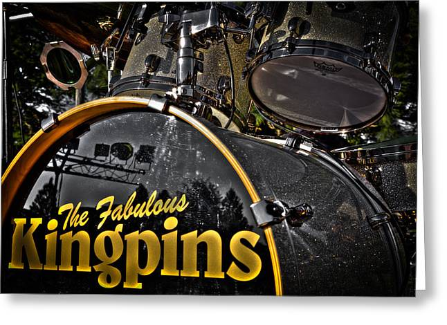The Kingpins Greeting Cards - The Fabulous Kingpins Drums Greeting Card by David Patterson