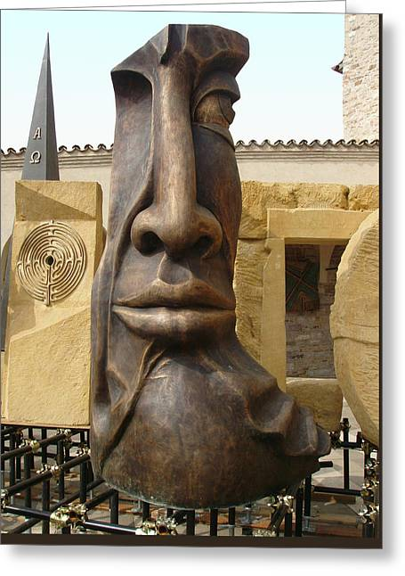 Brown Head Sculpture Greeting Cards - The Face Greeting Card by Ellen Henneke