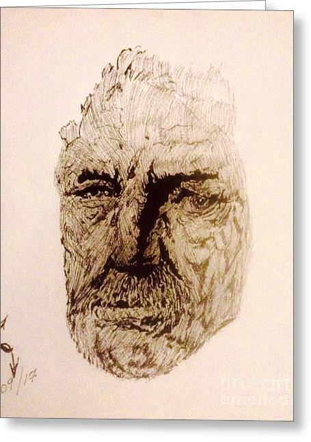 Indian Ink Mixed Media Greeting Cards - The Face Greeting Card by Franky A HICKS