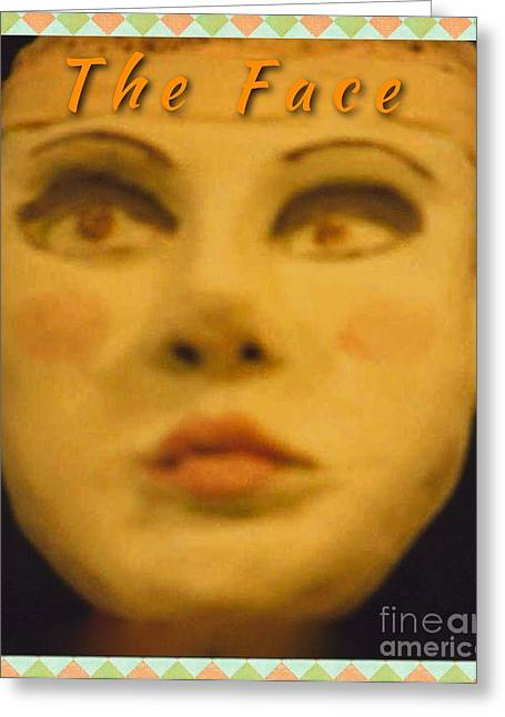 Portraits Ceramics Greeting Cards - The Face Greeting Card by Joan-Violet Stretch
