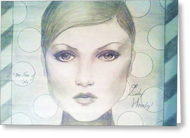 Twiggy Greeting Cards - The Face of 66 Greeting Card by Megan Jenkins