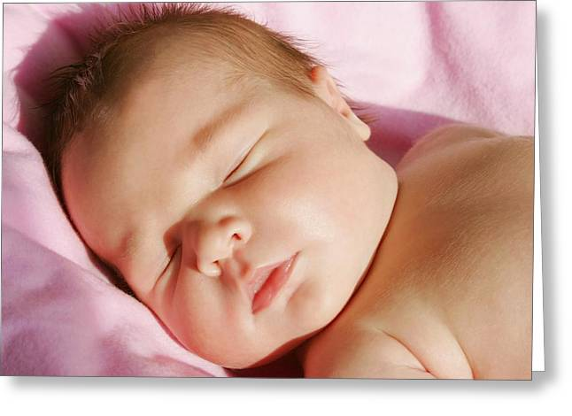 Precious Baby Greeting Cards - The Face Of A Sleeping Baby Greeting Card by Christine Mariner