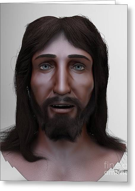 Catholic Sculptures Greeting Cards - The Face of Christ Model Greeting Card by Dave Luebbert