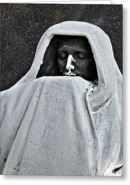 Ghastly Greeting Cards - The Face of Death - Graceland Cemetery Chicago Greeting Card by Christine Till