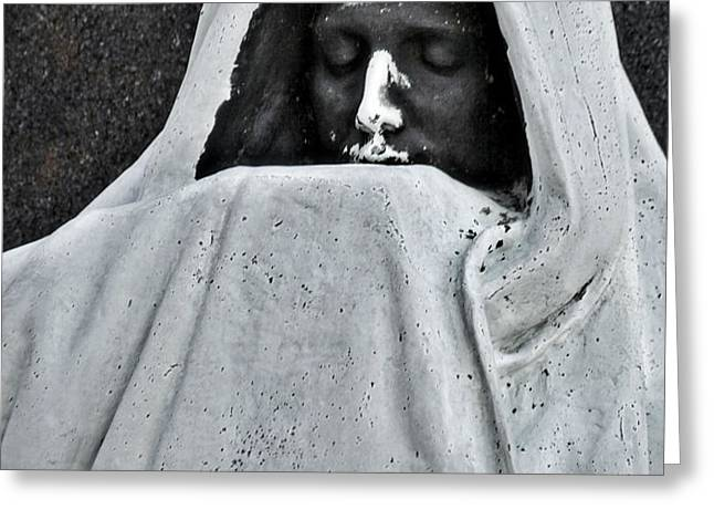 The Face of Death - Graceland Cemetery Chicago Greeting Card by Christine Till