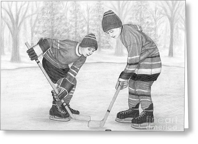 Sports Face Off Greeting Cards - The Face-off Greeting Card by Rita Palmer