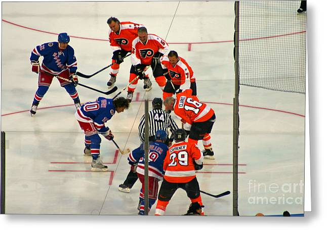 Philadelphia Flyers Greeting Cards - The Faceoff Greeting Card by David Rucker