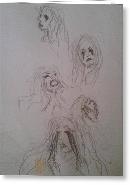 Torment Drawings Greeting Cards - The Faces of Angst I et Me Greeting Card by Jennie Hallbrown