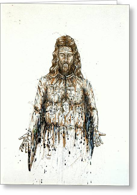 The Faces Of  Body Of Jesus Christ Greeting Card by Thomas Lentz