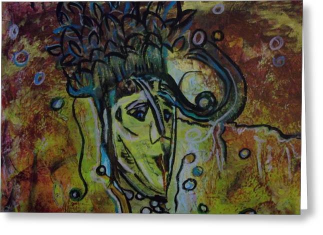 Wow Paintings Greeting Cards - The Faces Of Knowing Greeting Card by Karen Butscha