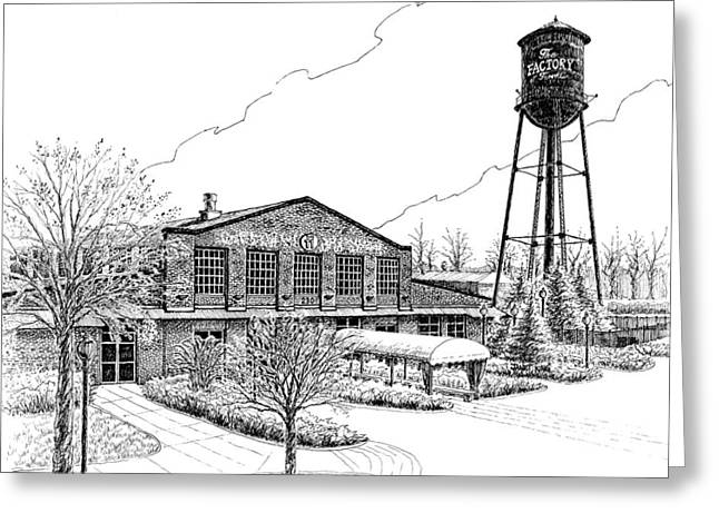 Pen And Ink Drawing Of Franklin Tennessee Greeting Cards - The Factory in Franklin Tennessee Greeting Card by Janet King