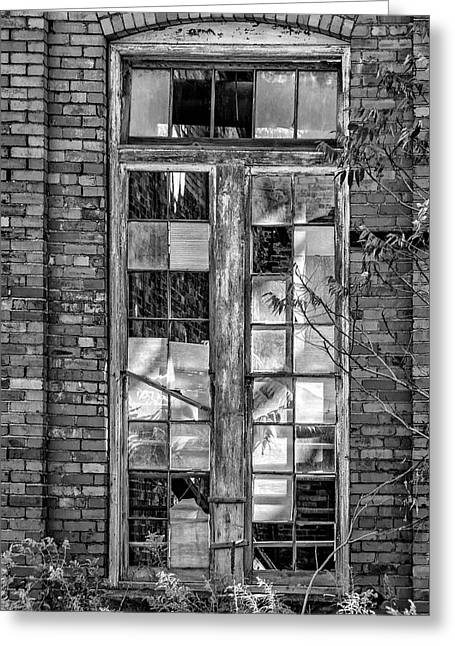 Autumn Prints Greeting Cards - The Factory Window bw Greeting Card by Steve Harrington