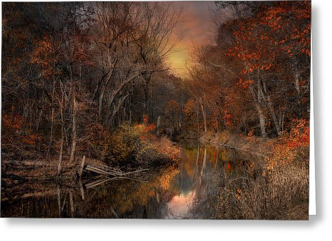 Blackstone River Greeting Cards - The Fading Glow of Fall Greeting Card by Robin-lee Vieira