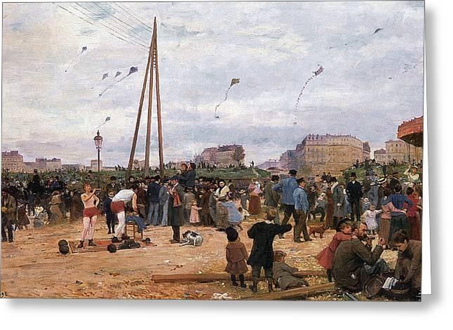 The Fairgrounds At Porte De Clignancourt Paris Greeting Card by Victor Gabriel Gilbert