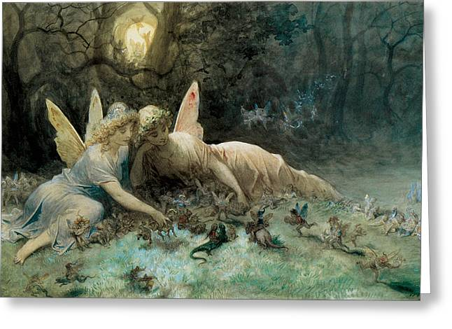 Dore Digital Greeting Cards - The Fairies from William Shakespeare Scene Greeting Card by Gustave Dore