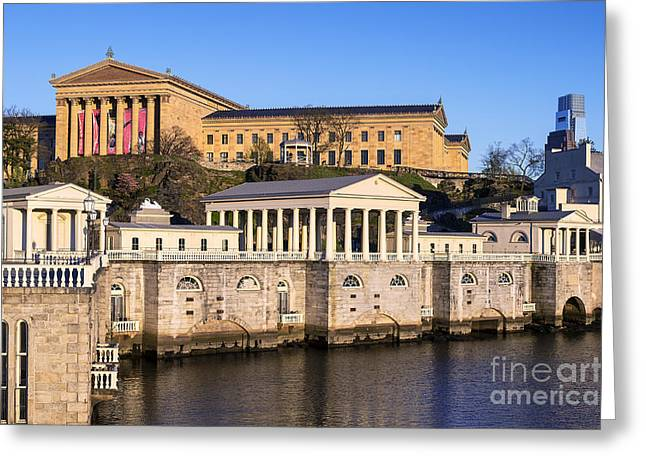 Phila Greeting Cards - The Fairmount Water Works and Art Museum Greeting Card by John Greim