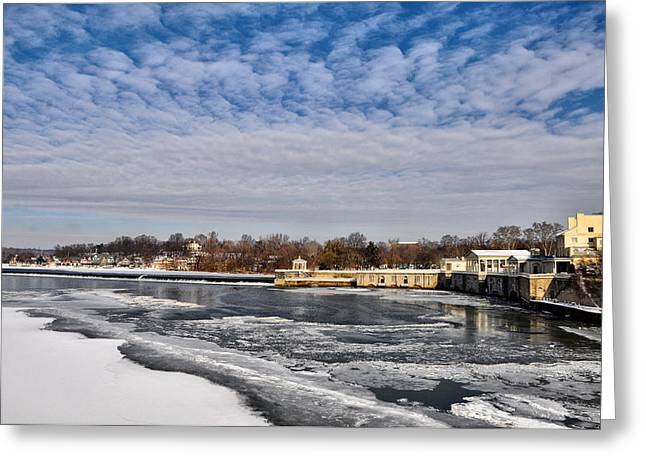 Phila Greeting Cards - The Fairmount Waterworks and Boathouse Row  in Winter Greeting Card by Bill Cannon