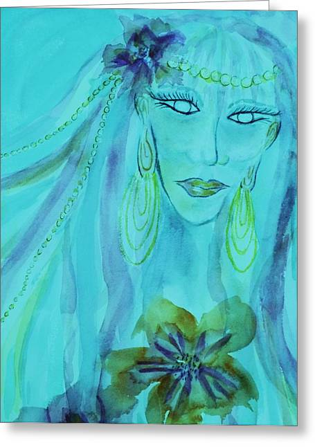 Olive Green Greeting Cards - The Fairy Avatar - Close-up Aqua Greeting Card by Ellen Levinson