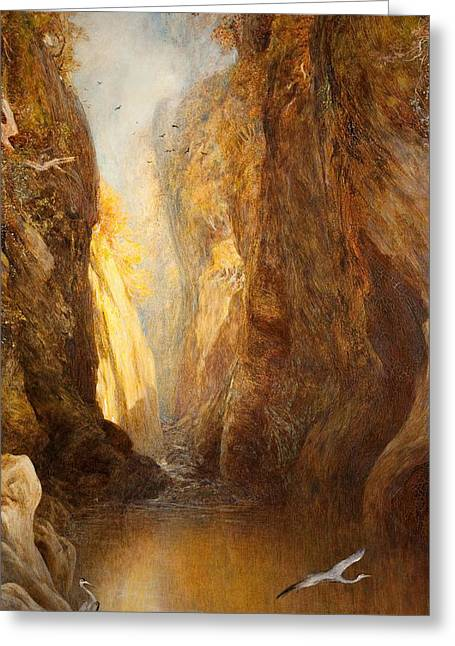 20th Greeting Cards - The Fairy Glen, Bettws-y-coed Greeting Card by Henry Clarence Whaite