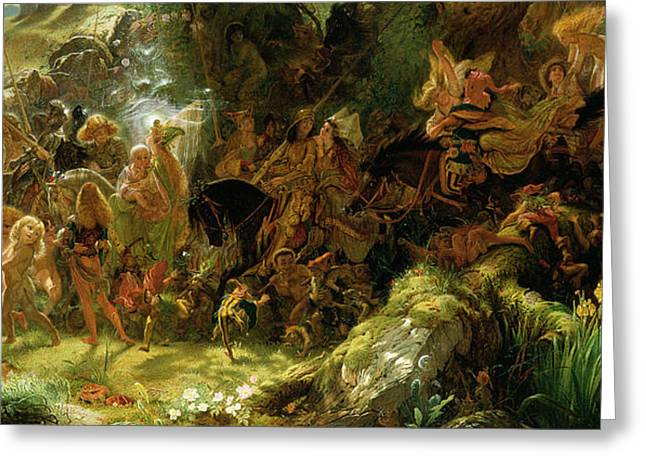 Elf Greeting Cards - The Fairy Raid Greeting Card by Sir Joseph Noel Paton