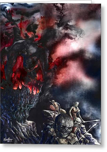 Fantasy Creatures Paintings Greeting Cards - The Fall of Azturath Greeting Card by Curtiss Shaffer