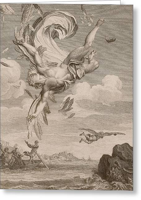 Flying Drawings Greeting Cards - The Fall Of Icarus, 1731 Greeting Card by Bernard Picart