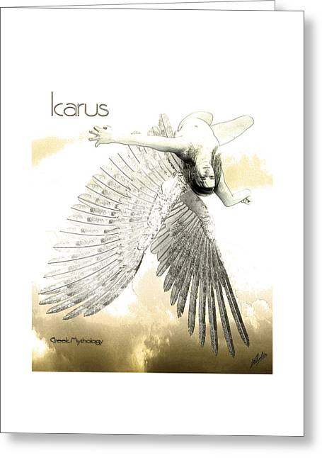 Flying Angel Greeting Cards - The Fall of Icarus Greeting Card by Quim Abella