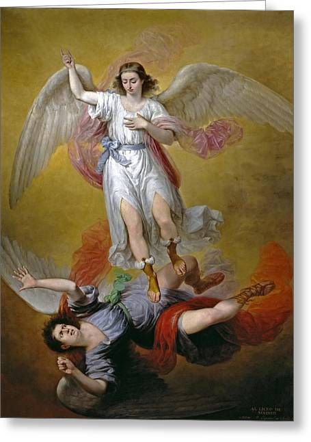 Lucifer Greeting Cards - The Fall of Lucifer Greeting Card by Antonio Maria Esquivel